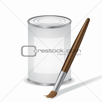 gray paint tin and paint brush