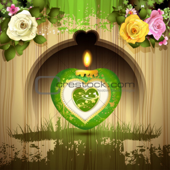 Green heart with candle