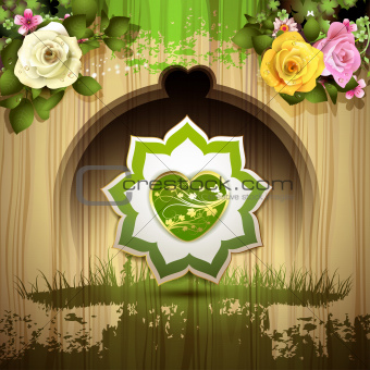 Green heart with roses