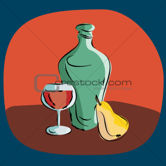 still life with a bottle of wine and a pear
