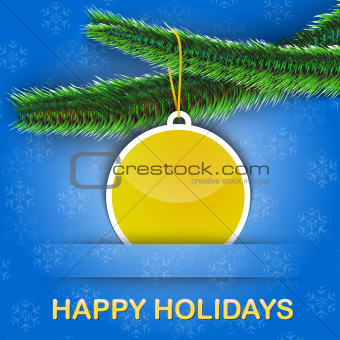 Holiday greetings card with Christmas tree and a bauble hanging
