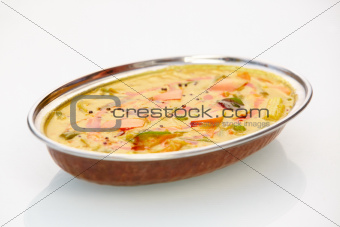 """A close-up of a perfectly prepared, mouth-watering gourmet dish isolated on white"""