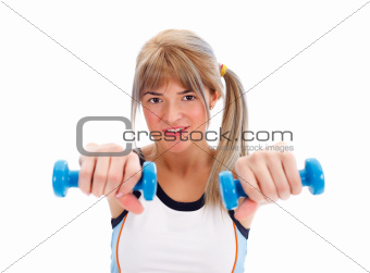 Fit girl with weights