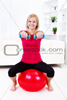 Workout on pilates ball