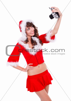 Smile! Santa helper taking photo