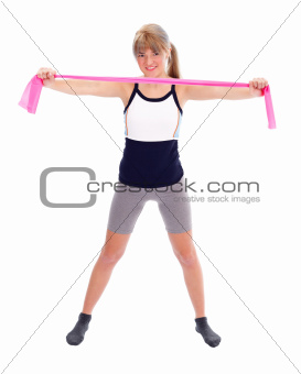 Fit woman with stretch band