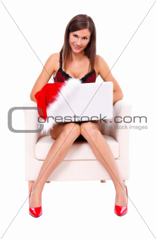 Santa girl with laptop