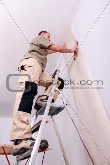 Wall papering man