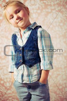 portrait of little girl before retro background