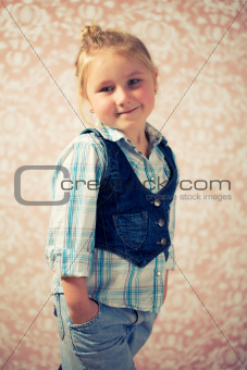 portrait of little girl before retro background