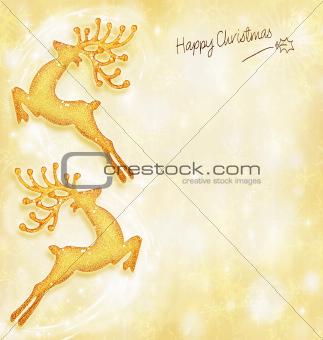 Christmas holiday card, golden background, reindeer decorative b