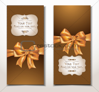 vector fabric textile banners with gold bow