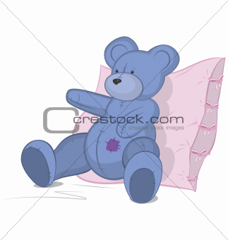 Blue Teddy bear on pink pillow