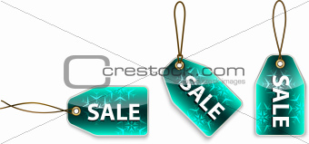 Green hanging tags with the word sale