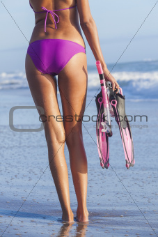 Sexy Woman Beach Girl in Bikini Snorkel Mask Flippers