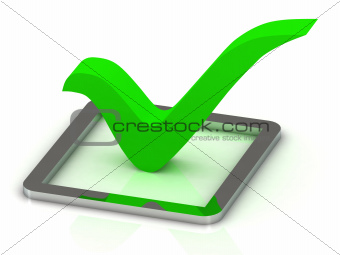3d illustration of green check mark
