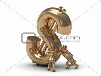 gold people lifts drop a big gold dollar