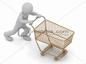 Human Character and gold shopping trolley