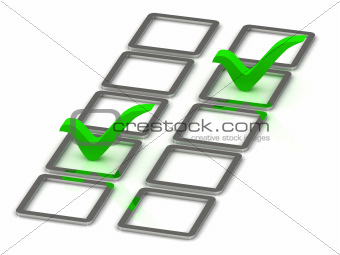 3d illustration of 2 green check mark