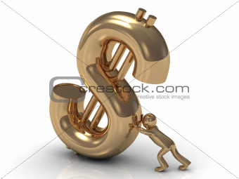 3D little gold man lifts drop a big gold dollar