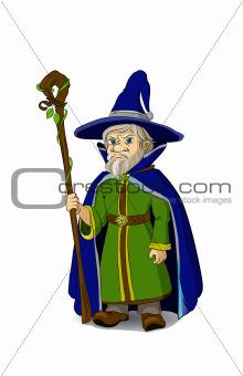 Gloomy Cartoon Wizard with staff. Vector illustration.