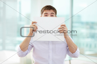 Peeking out of paper