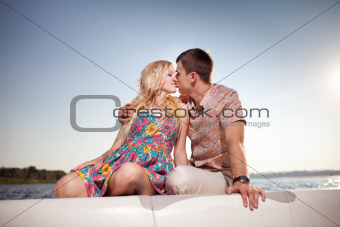 kissing couple on the boat