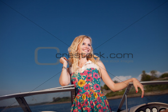 young girl on the yacht