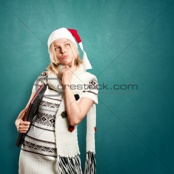 Woman Waiting For Christmas With Laptop