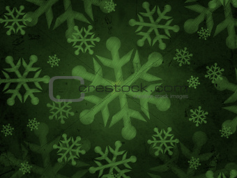 abstract green background with snowflakes
