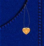 golden heart in a jeans pocket