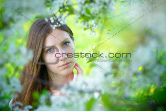 Beautiful girl with white flowers