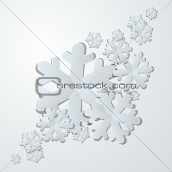 Winter background. White paper snowflakes with shadows.