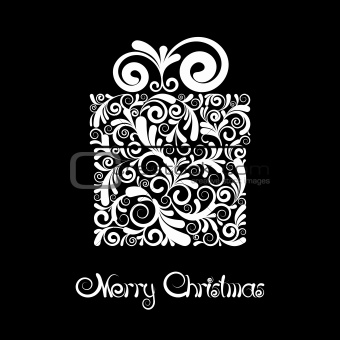 Christmas card - gift box with scroll ornament.