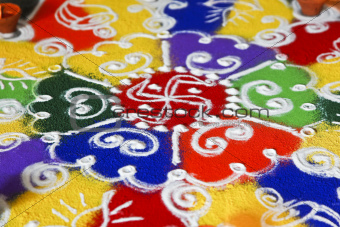 Indoor hindu rangoli pattern