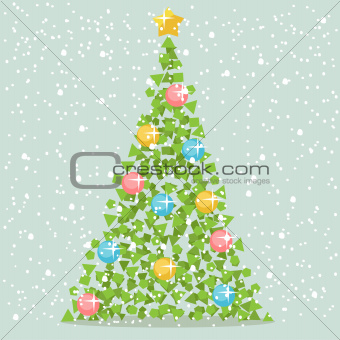 Abstract Christmas Paper Tree