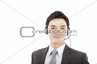 handsome businessman wearing headset and smiling isolated on whi