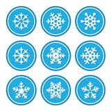 Snowflakes icons as retro labels