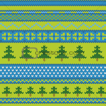 Vector seamless knitted pattern with pine