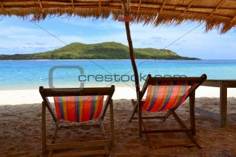 canvas  chair on the beach  in thailand