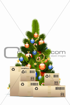 Christmas Tree with  Cardboard Boxes
