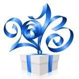 Vector blue ribbon in the shape of 2013 and gift box. Symbol of 