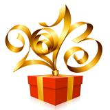 Vector gold ribbon in the shape of 2013 and gift box. Symbol of