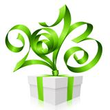 Vector green ribbon in the shape of 2013 and gift box. Symbol of