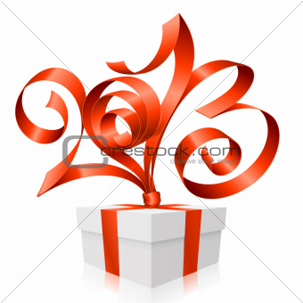 Vector red ribbon in the shape of 2013 and gift box. Symbol of N