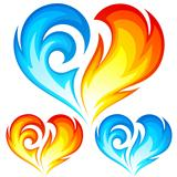 Fire and Ice vector heart. Symbol of love.
