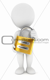 3d white people with a padlock