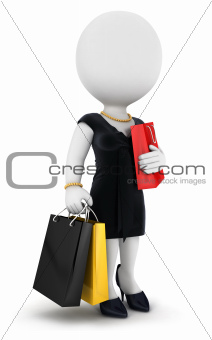 3d white people woman goes shopping