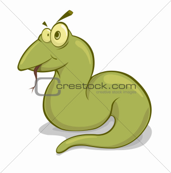 Vector illustration of green snake