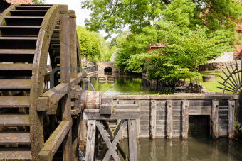 Old wooden water mill